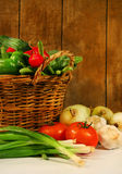 Vegetables in a basket stock photography