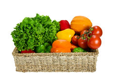 Vegetables in the basket. Fresh vegetable variety in the basket Royalty Free Stock Photo