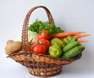 Vegetables. Basket with vegetables Stock Images