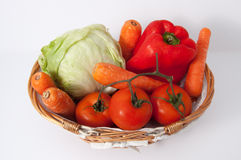 Vegetables in a basket from above Stock Photography