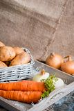 Vegetables in a basket: beets, onions, garlic, dill, potatoes, carrots on an old wooden background. Vegetables in a basket: beets, onions, garlic, dill, potatoes Royalty Free Stock Photography