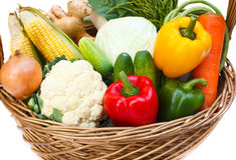 Vegetables in basket. Stock Photo