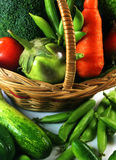 Vegetables with basket Royalty Free Stock Images