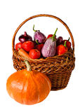 Vegetables in basket isolated on white background Stock Photography