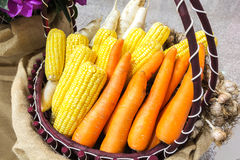 Vegetables in a basket. Multiple different vegetables in a basket Royalty Free Stock Photo