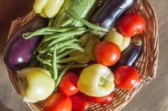 Vegetables in the basket. Organic food background Vegetables in the basket Royalty Free Stock Image