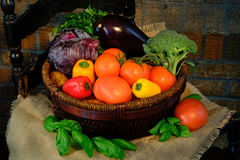 Vegetables in basket on sackcloth. Rustic style Stock Photo