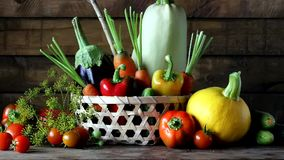Vegetables in the basket on the table. stock video