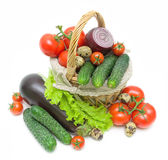 Vegetables in a basket on a white background Royalty Free Stock Images