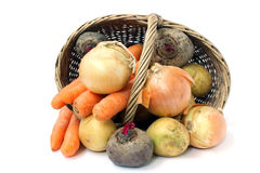 Vegetables and a basket Royalty Free Stock Photo