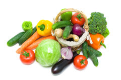 Vegetables in a basket on a white background closeup Royalty Free Stock Images