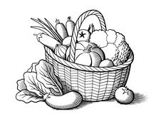 Vegetables in basket. Vegetables in wicker basket. Stylized black and white vector illustration. Cabbage, pumpkin, eggplants, tomatoes, onion, carrots, broccoli royalty free illustration