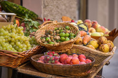 Vegetables in baskets for sale Stock Photo