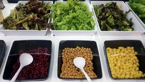 Vegetables and beans for salad bar buffet stock images