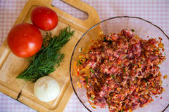 Vegetables-beef. Vegetables and beef, mixed ingredients in meat stock photography