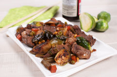 Vegetables and beef stir fry Stock Photo