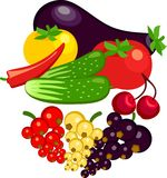 Vegetables and berries currants Royalty Free Stock Photos