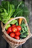 Vegetables in big basket. top view Royalty Free Stock Photography