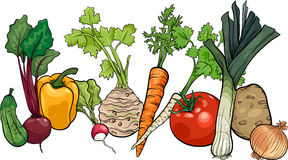 Vegetables big group cartoon illustration Royalty Free Stock Photo