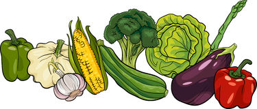 Vegetables big group cartoon illustration Royalty Free Stock Photography