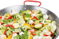 Vegetables in a big  pan Stock Image