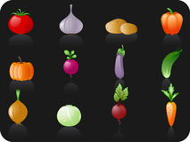 Vegetables_black background. Icon set Royalty Free Stock Image