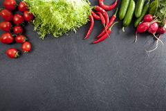 Vegetables on black background Royalty Free Stock Photography
