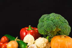 Vegetables on the black background Stock Photo