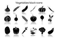Vegetables black icons Royalty Free Stock Photos