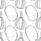 Vegetables. Black and white illustration, seamless pattern for coloring book or page. Vector Royalty Free Stock Images