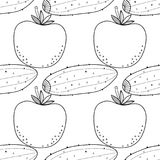 Vegetables. Black and white illustration, seamless pattern for coloring book or page. Vector Vector Illustration