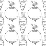 Vegetables. Black and white illustration, seamless pattern for coloring book or page. Vector Stock Image