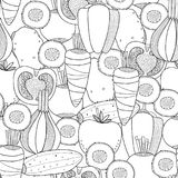 Vegetables. Black and white illustration, seamless pattern for coloring book or page. Vector Stock Images