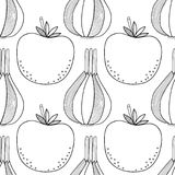 Vegetables. Black and white illustration, seamless pattern for coloring book or page. Vector Royalty Free Stock Image