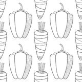Vegetables. Black and white illustration, seamless pattern for coloring book or page. Vector Royalty Free Stock Photo