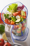 Vegetables in blender Stock Photo