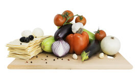 Vegetables on a board for lasagna Stock Photography
