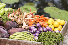 Vegetables on boats Royalty Free Stock Photos