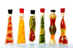 Vegetables in a bottle. Decorative bottles with sealed colorful fruits and vegetables inside Royalty Free Stock Image