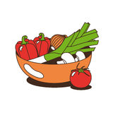 Vegetables in a Bowl. Simple Vector based illustration. The single vegetables can be used separately. The Illustration can act as a logo element Royalty Free Stock Photography