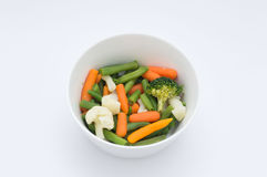 Vegetables in a Bowl. Healty Vegetables is a bowl, carrots,brocoli,beans,couliflower Royalty Free Stock Photo