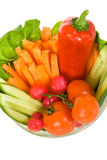 Vegetables in a bowl - top view Stock Photos