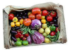 Vegetables box isolated Stock Photo