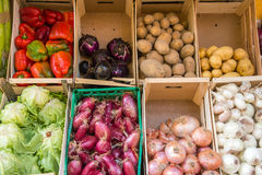 Vegetables in boxes for sale Royalty Free Stock Photography