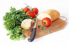 Vegetables and bread. Healthy food. Vegetables and bread Stock Image