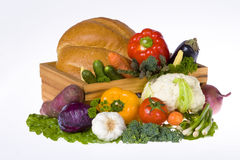 Vegetables and bread loaf Stock Photo