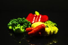Vegetables on dark background royalty free stock image