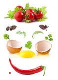 Vegetables and broken egg Royalty Free Stock Images