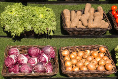 Vegetables. In the brown basket on sunny day Royalty Free Stock Image