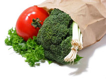 Vegetables in a brown paper bag Stock Photography